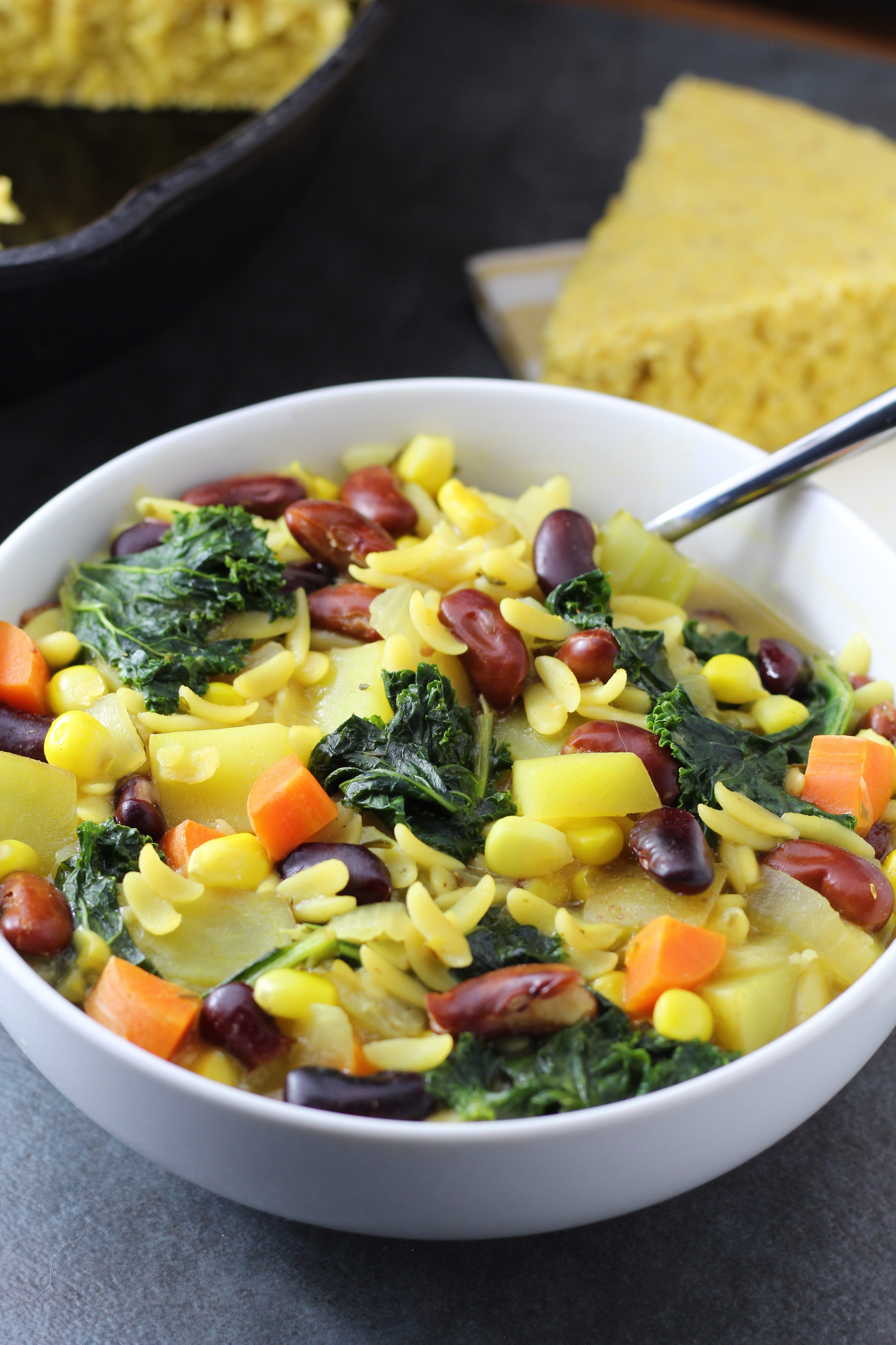 Rainbow Lemon Orzo Vegetable Soup