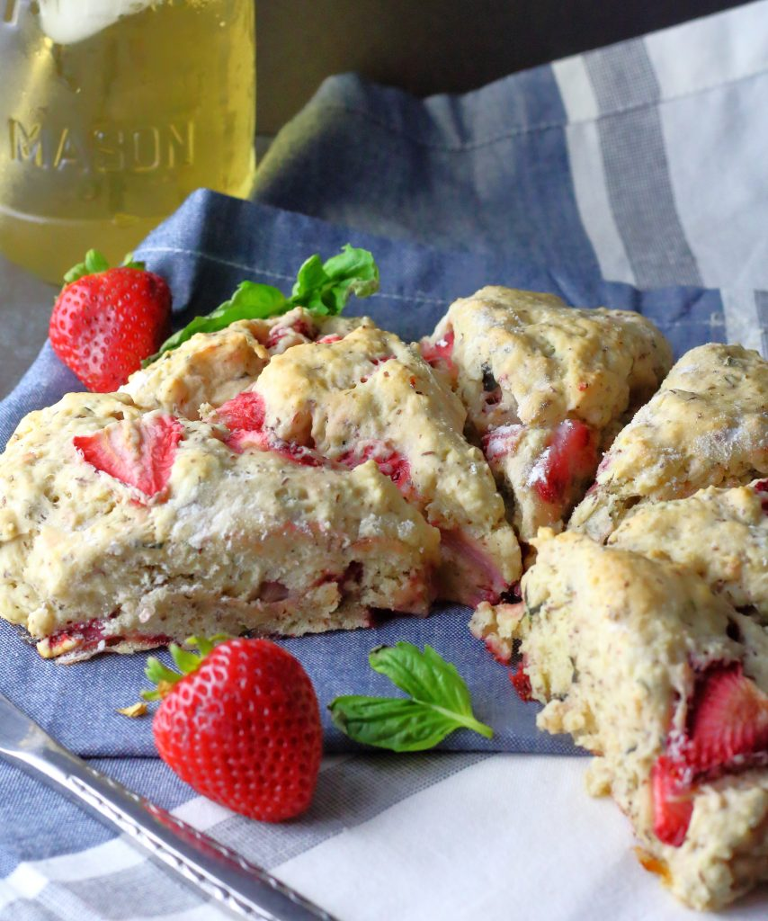 vegan strawberry basil scones