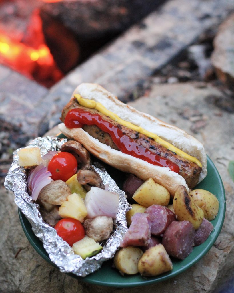 Traveling Vegan: Hot Dogs with Sautéed/Packet Veggies