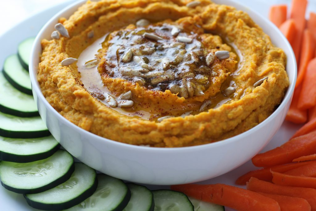 Sweet and Spicy Roasted Carrot Hummus