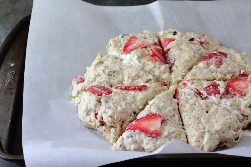 strawberry basil scones uncooked