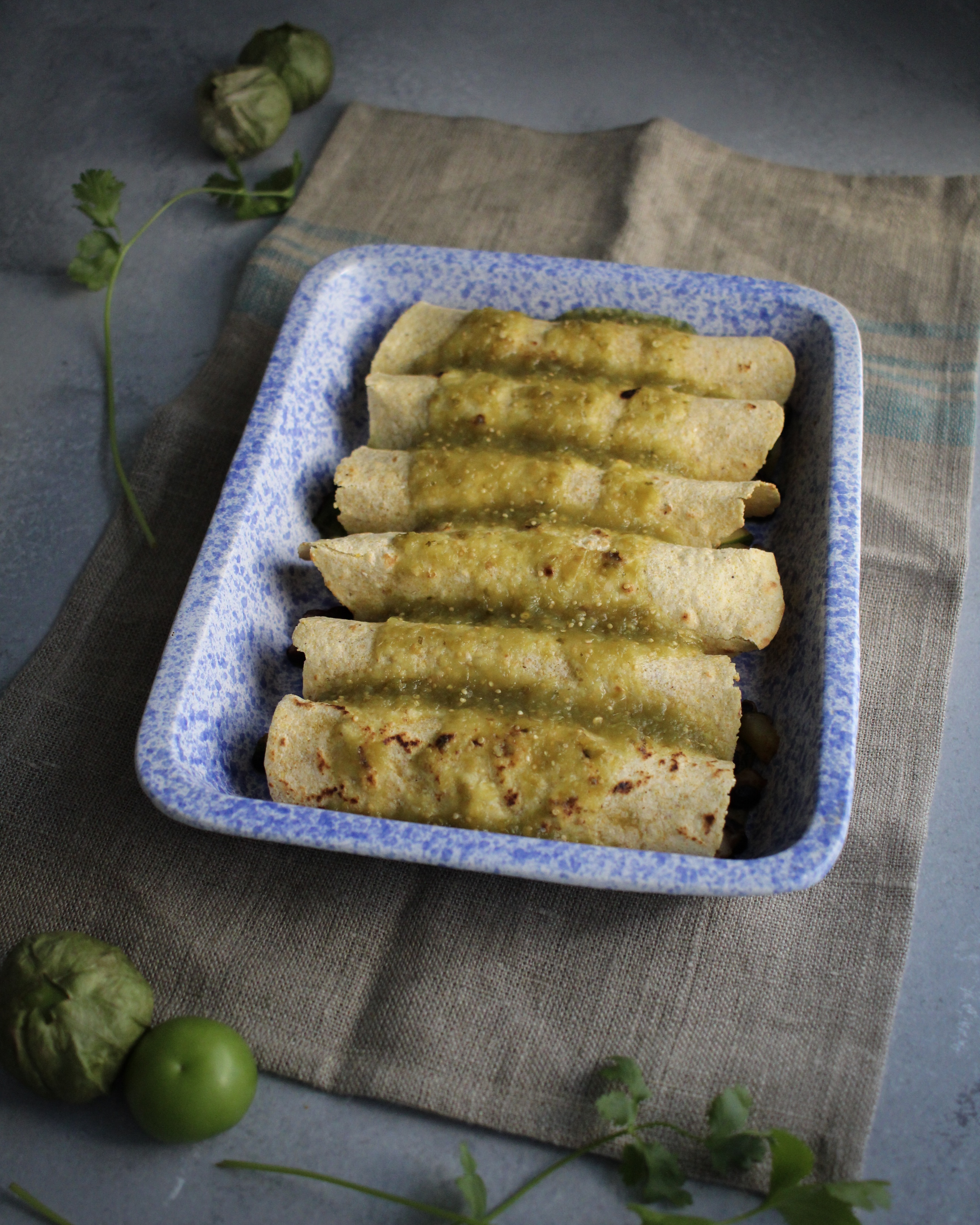 Vegan Enchiladas Verdes with Potato and Black Bean Filling before going into the oven